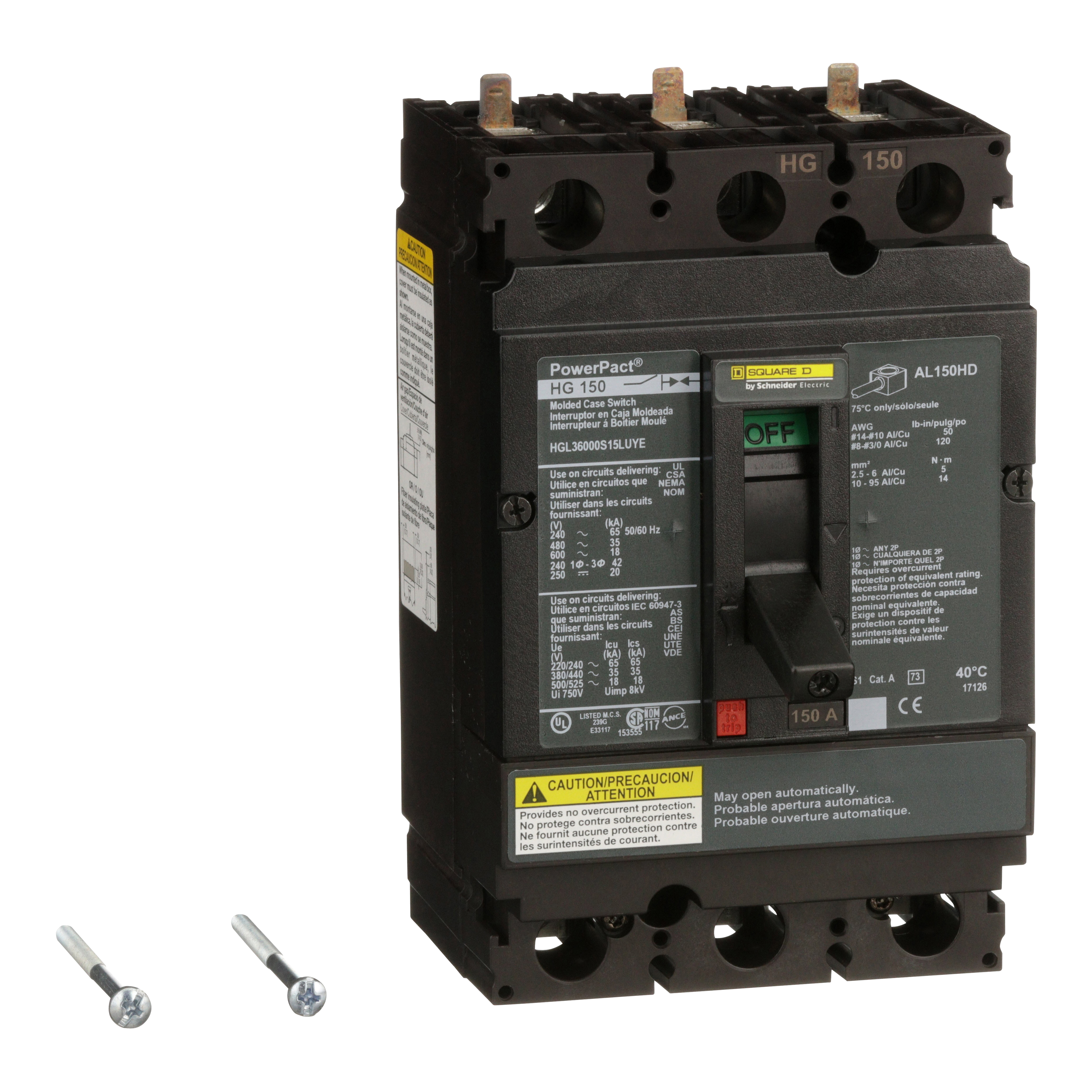 SQUARE D PowerPact H-Frame Molded Case Circuit Breakers Unit Mount - HGL36000S15LUYE