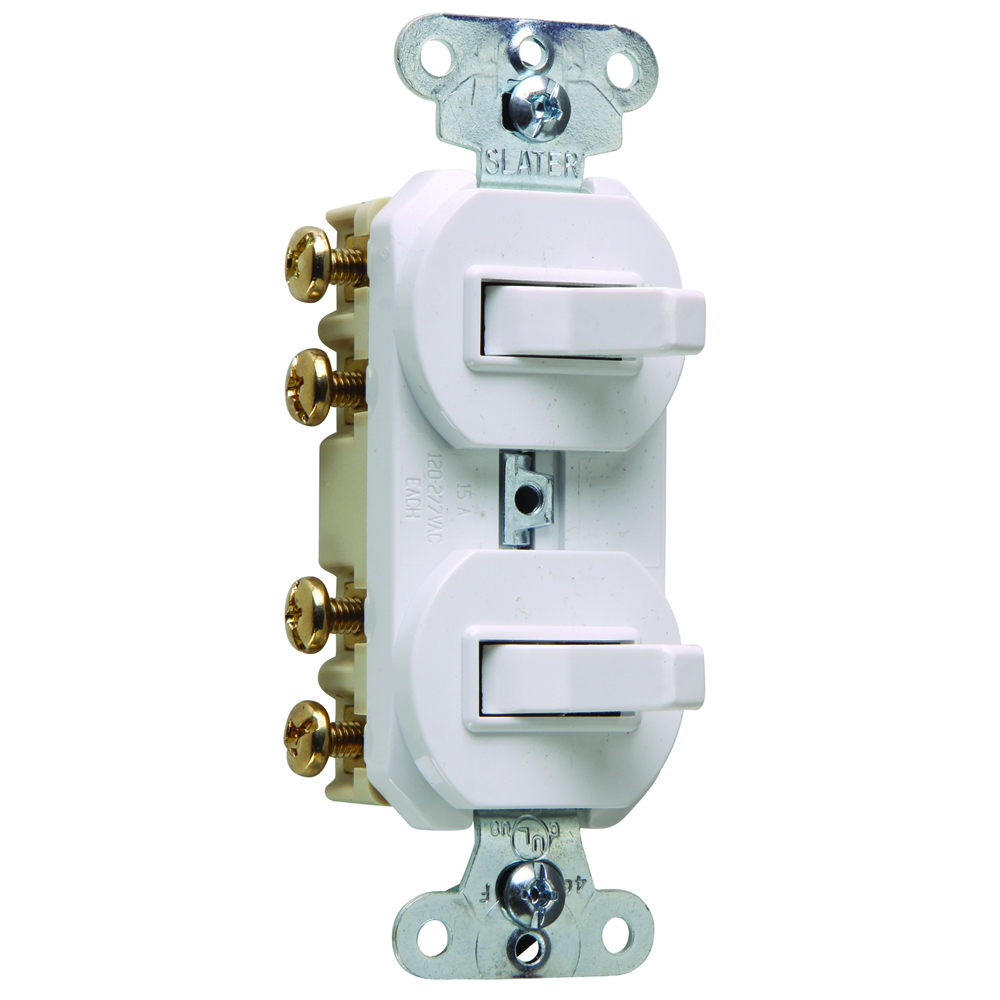 PASS & SEYMOUR 15 amps 120/277 volts, Double Three-way Combination Switch, Non-Grounding, White.