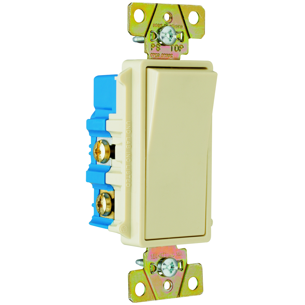 PASS & SEYMOUR Four-way, Back and Side Wire, Decorator Switch, 15 amps, 120/277 volts, Ivory.