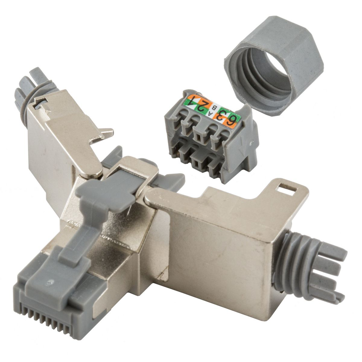 HUBBELL WIRING DEVICES Hubbell Premise Wiring, Plug, Category 6, Shielded, Field Termination,Silver