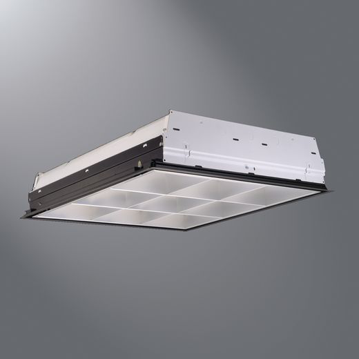 """COOPER LIGHTING 2 U-Lamp, 2'x2' Air Supply Parabolic, w/Vanes, 9 Cell, Semi Specular/Low Iridescent Haze 3"""" Louver, CEE Listed Electronic Ballast, T8"""
