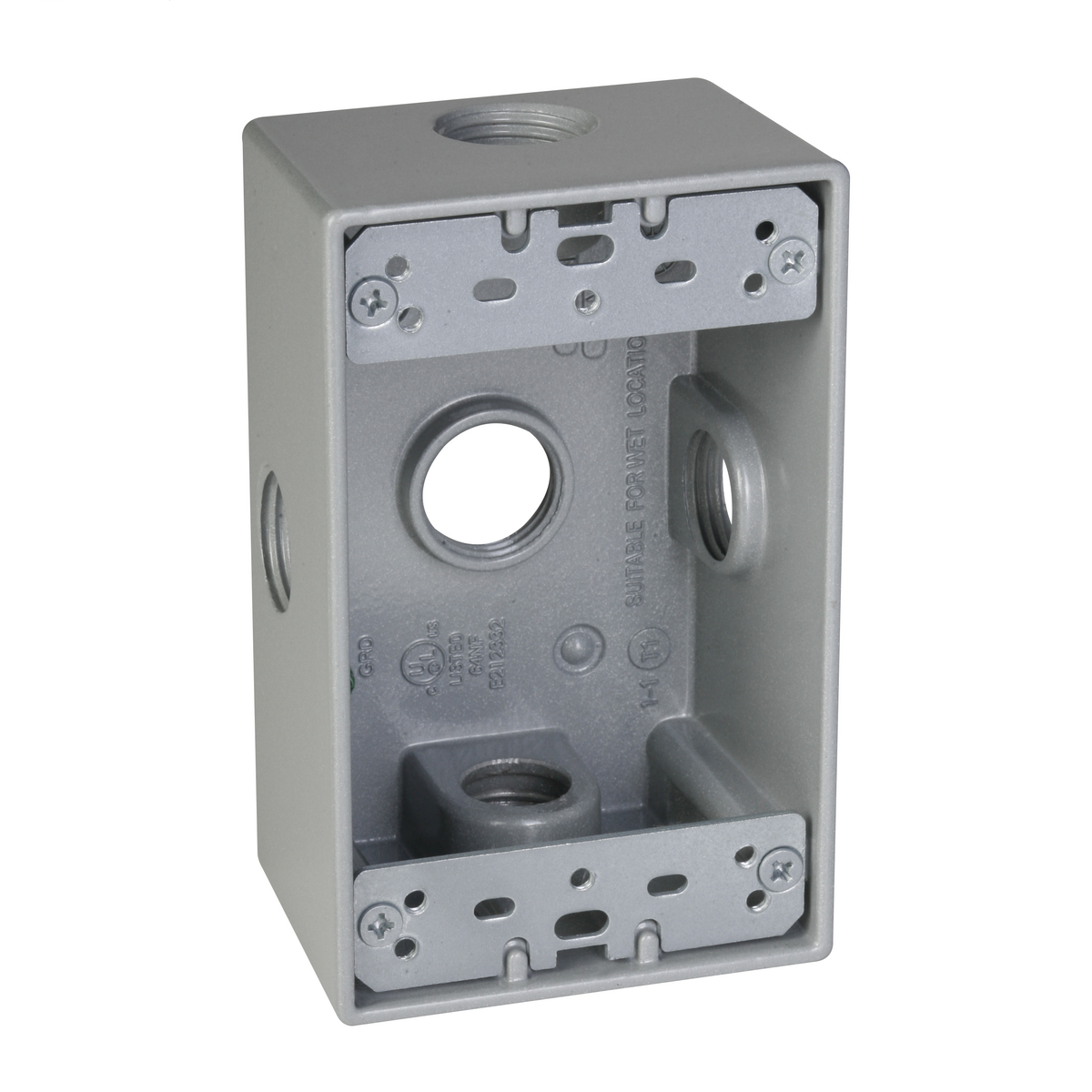1-Gang 5-Hole 1/2 in. Outlet Box with Side Lug - Silver SB550XS