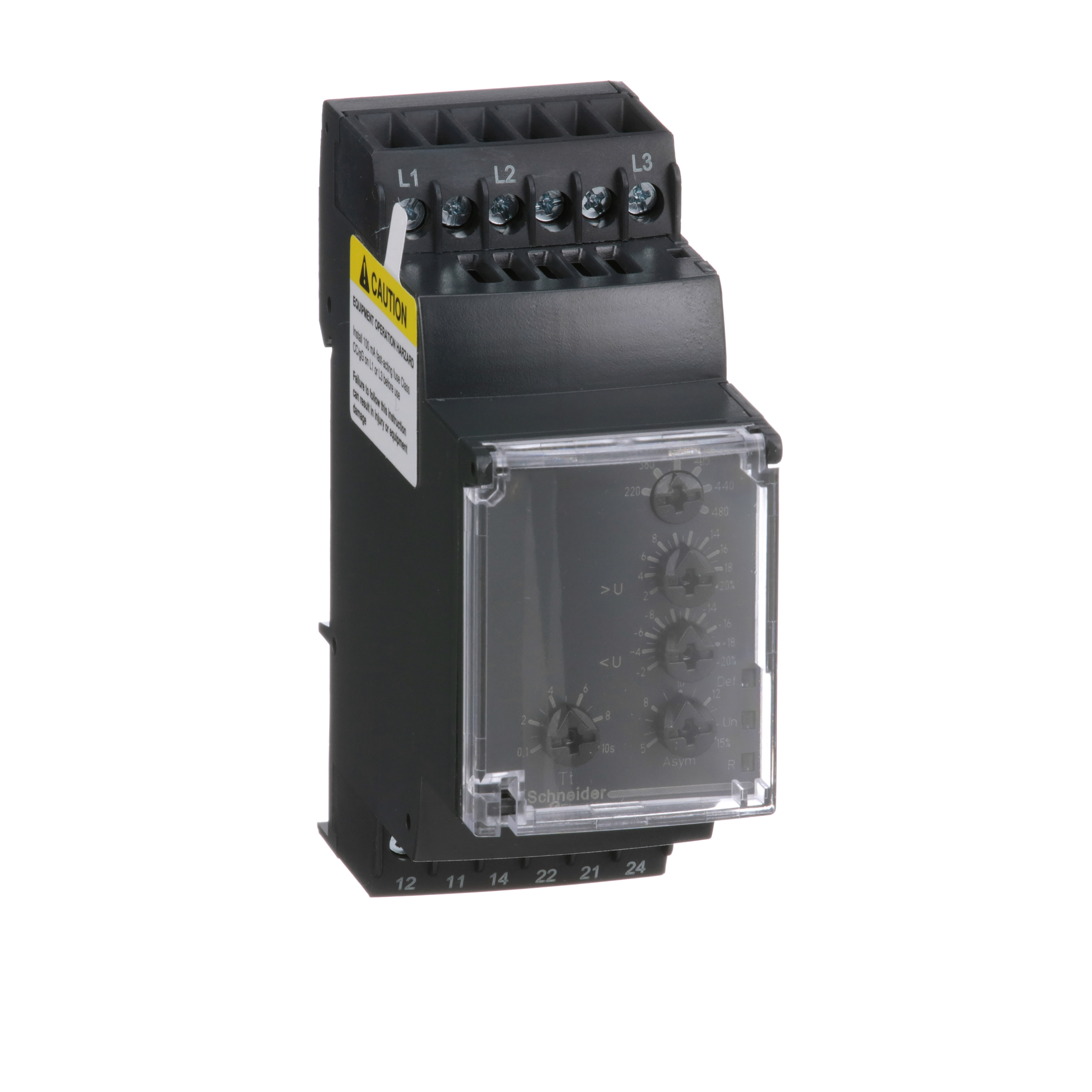 SQUARE D Zelio, 3 phase supply control relay, range 220 to 480 VAC, sequence, phase failure, phase imbalance, voltage