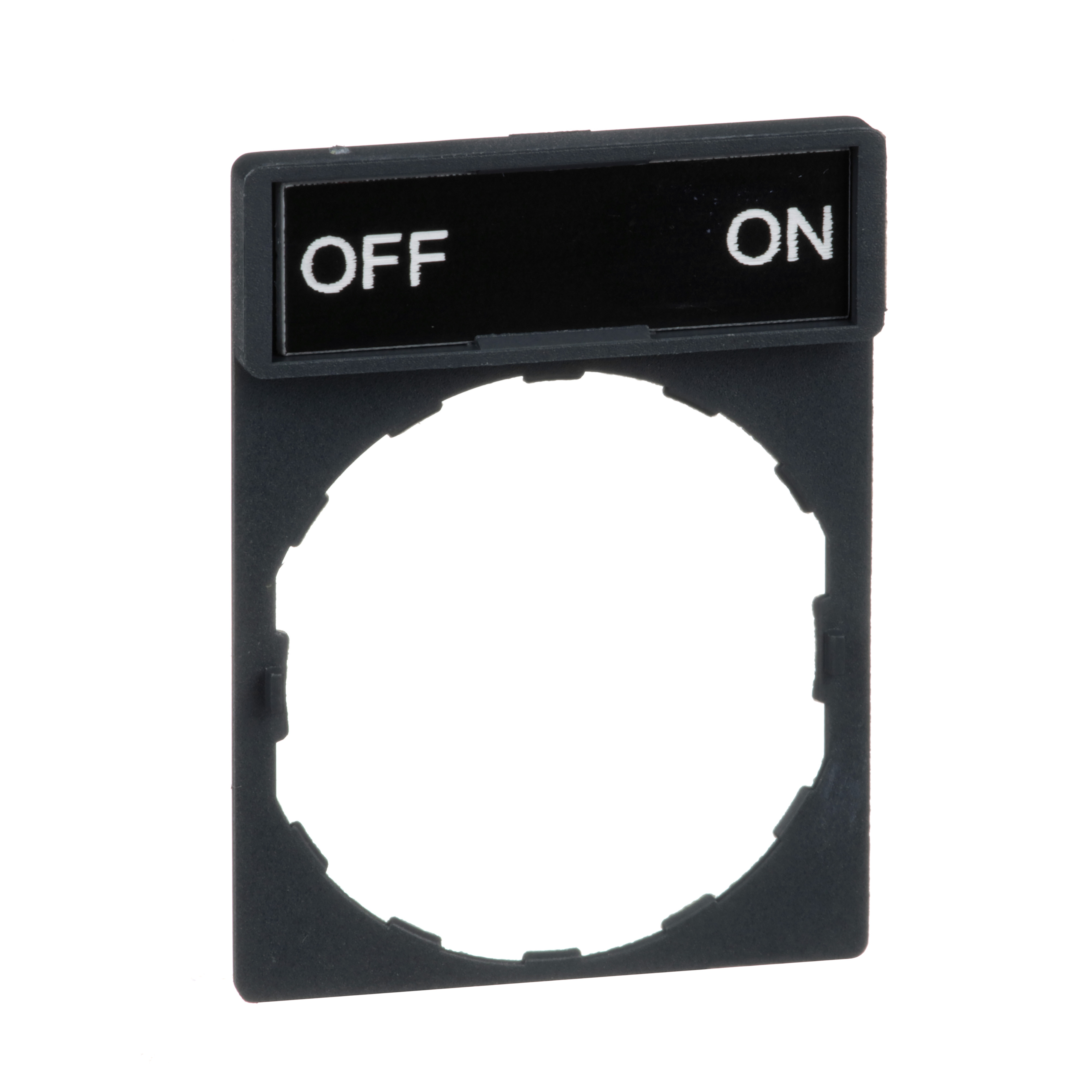 SQUARE D Schneider Electric,STD N/P HOLDER MRKD  OFF - ON,-25 to +70 Degrees C,22mm Round,Black White OFF - ON,Harmony,IP65,IP65,Pushbutton Legend Holder