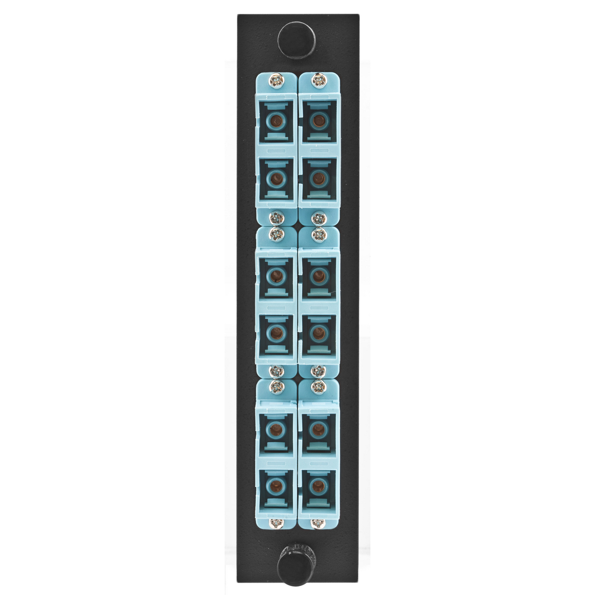 Hubbell Premise Wiring Products, FSP Adapter Panel, 6-Fiber, SC Duplex,12-Port, Loaded with 6 Adapters, Phosphor Bronze, Aqua
