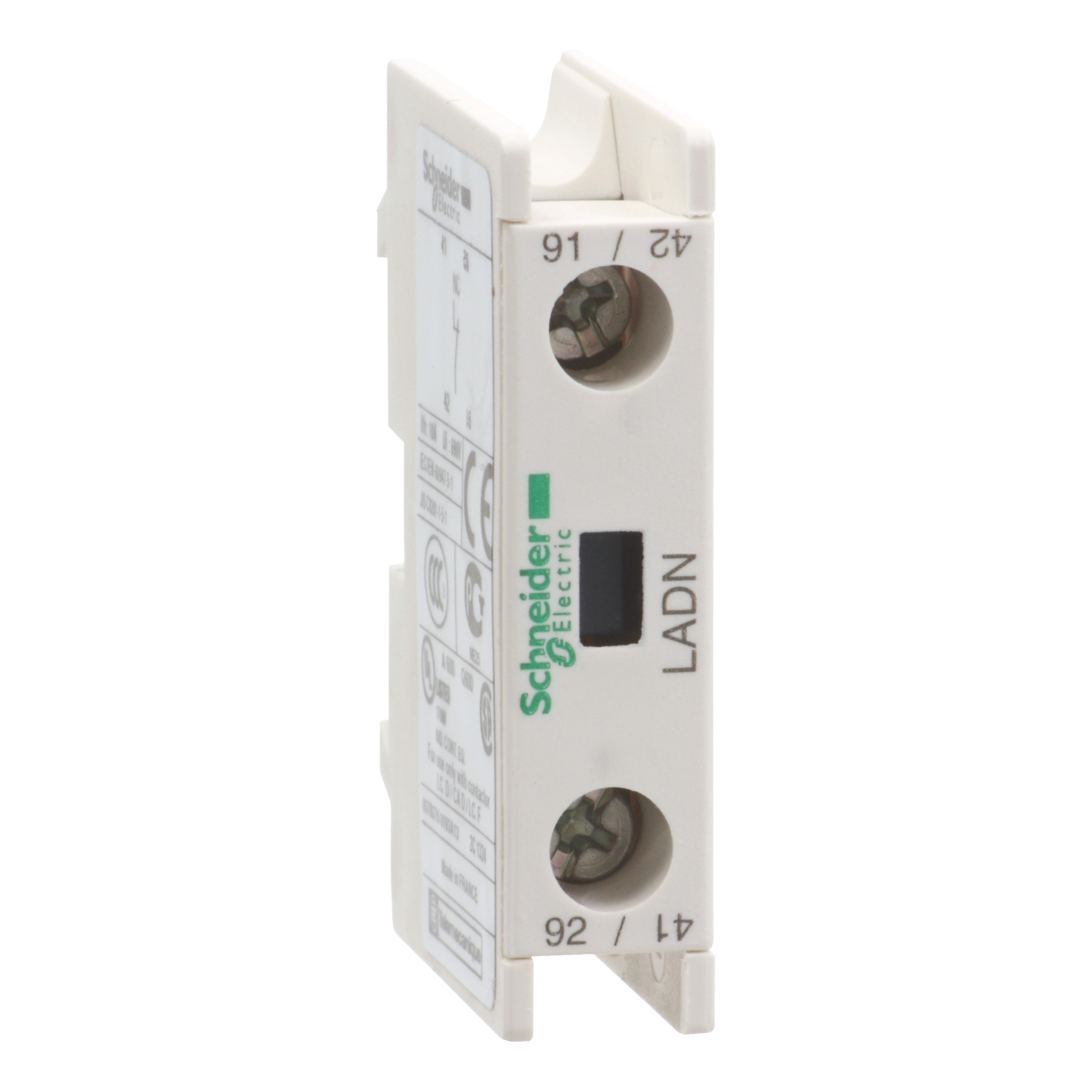 SCHNEIDER ELECTRIC Auxiliary contact block, TeSys D, 1NC, front mounting, screw clamp terminals