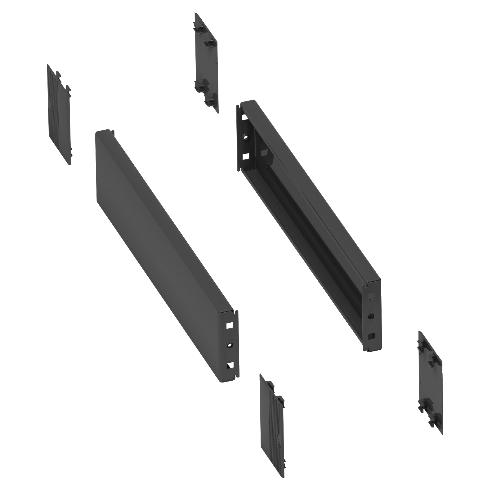 SCHNEIDER ELECTRIC 2 side panels for plinth. 400x100mm. Folded sheet steel. RAL 7022. IP 30. IK 10.