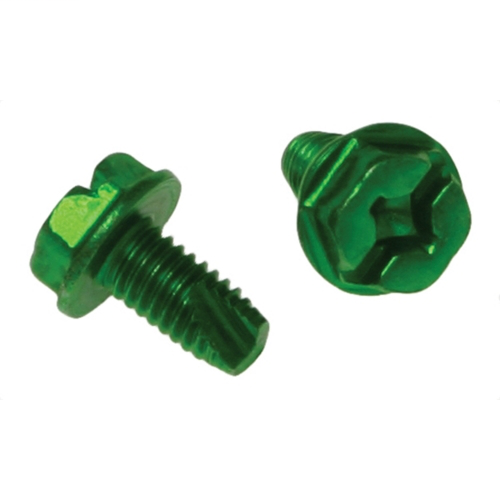 METALLICS Grounding Screw, #10-32 x 3/8 in, Green, Steel material, Threaded mounting, Zinc Chromate finish, Hex Washer head, Slotted/Phillips/Square drive type, 100 per pack