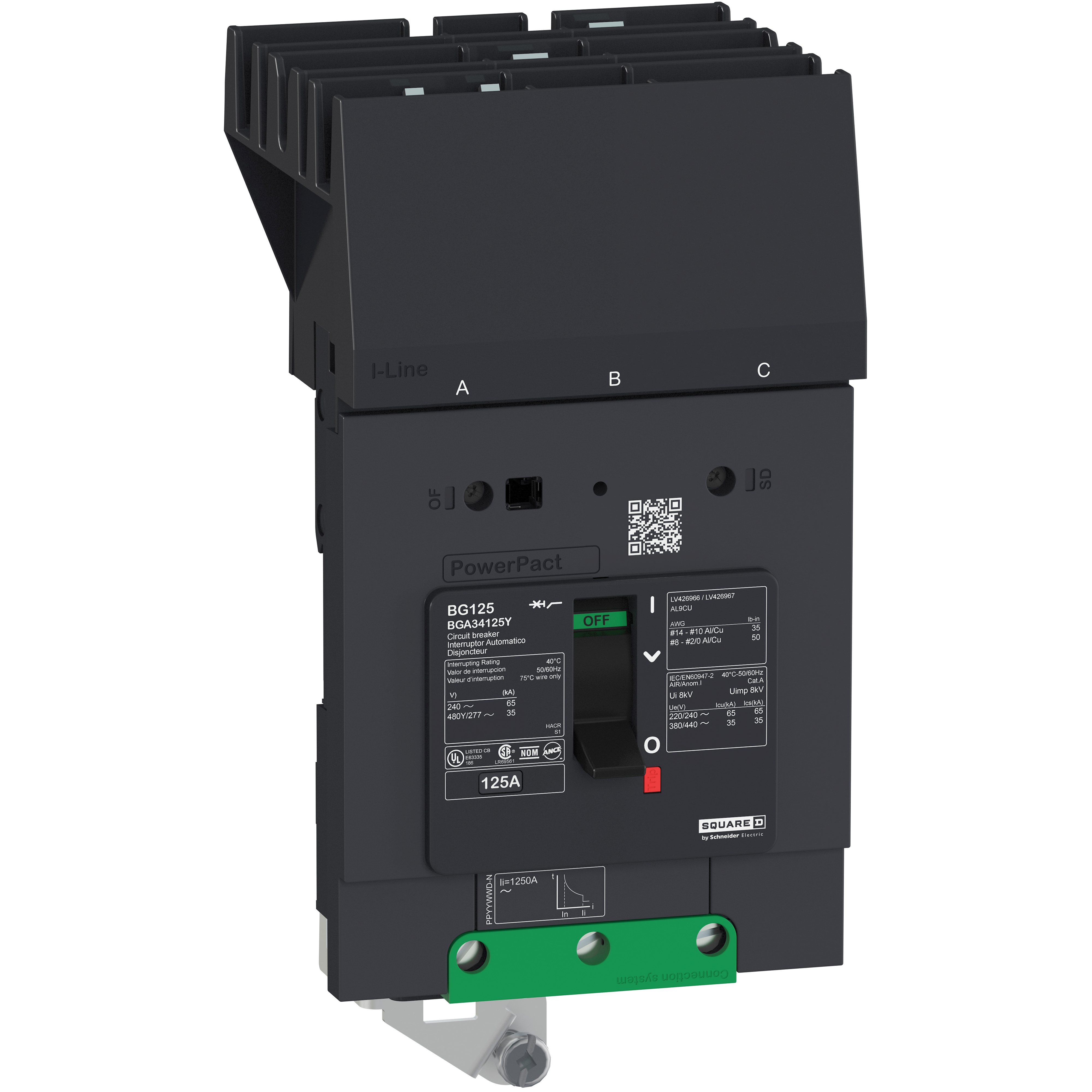 SQUARE D PowerPact B Circuit Breaker, 35A, 3P, 480Y/277V AC, 35kA at 480/277 UL, I-Line