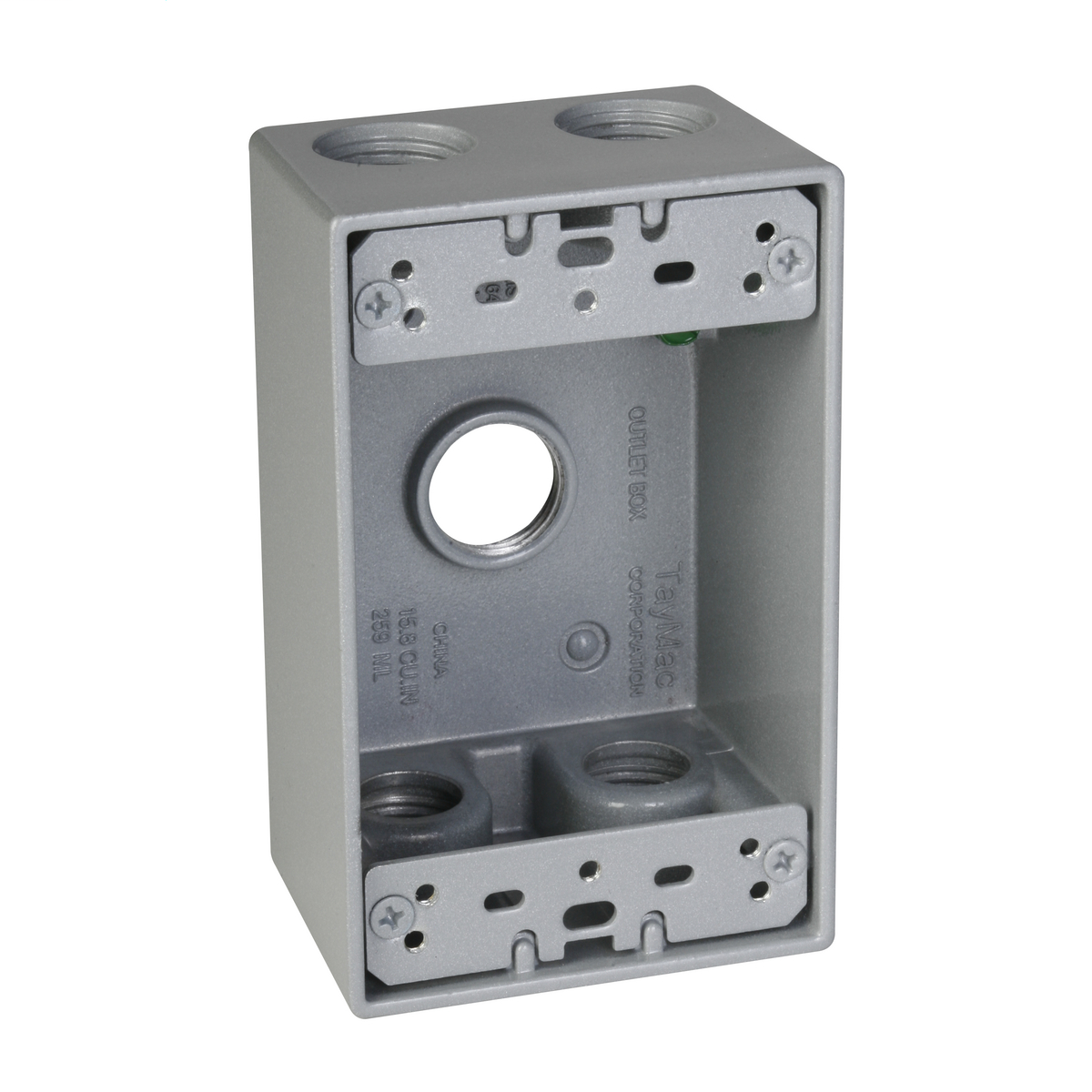 1-Gang 5-Hole 1/2 in. Outlet Box - Silver SB550S