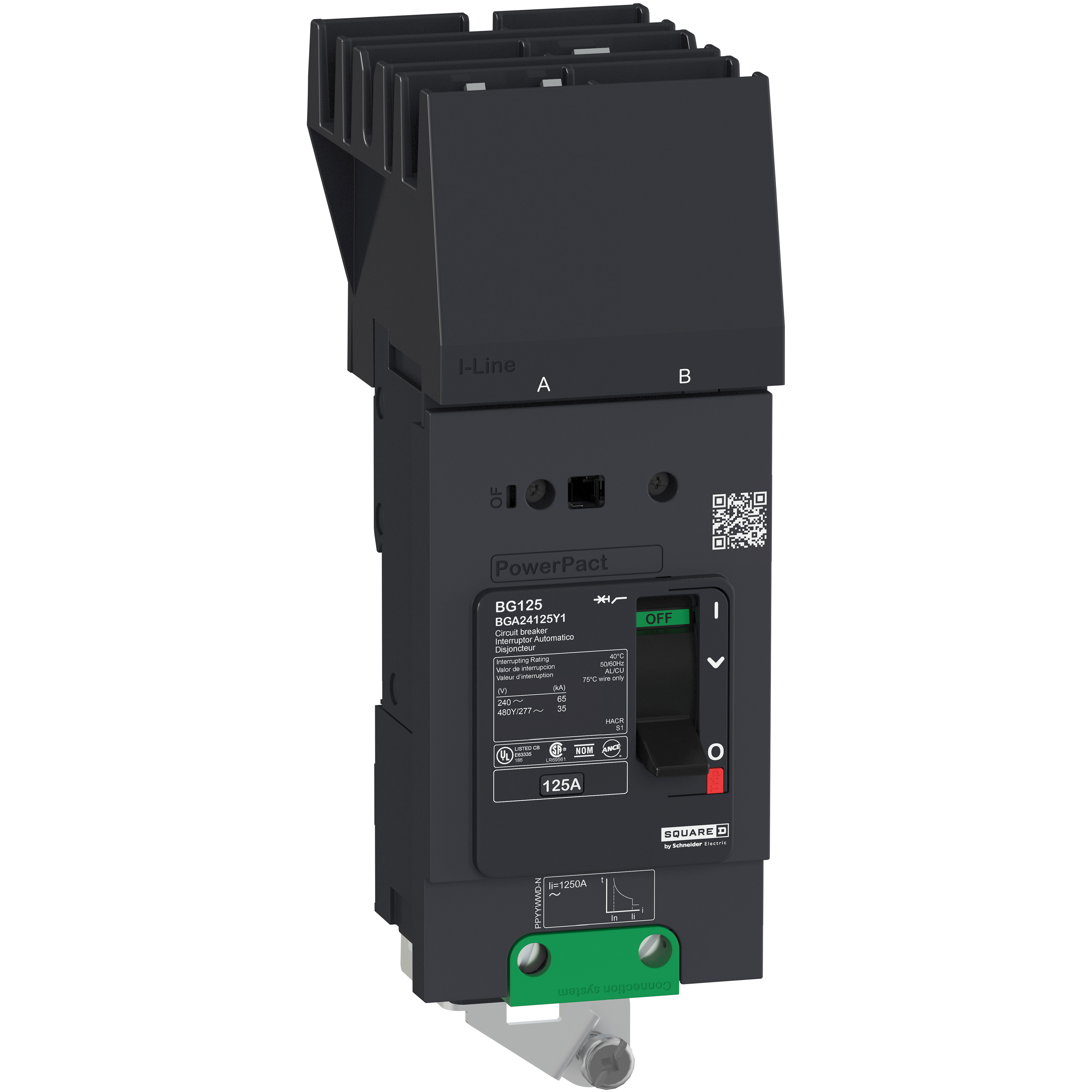 SQUARE D PowerPact B Circuit Breaker, 70A, 2P, 480Y/277V AC, 18kA at 480/277 UL, I-Line