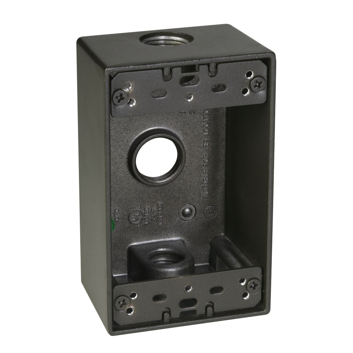 1-Gang 3 Hole 1/2 in. Outlet Box - Bronze SB350Z