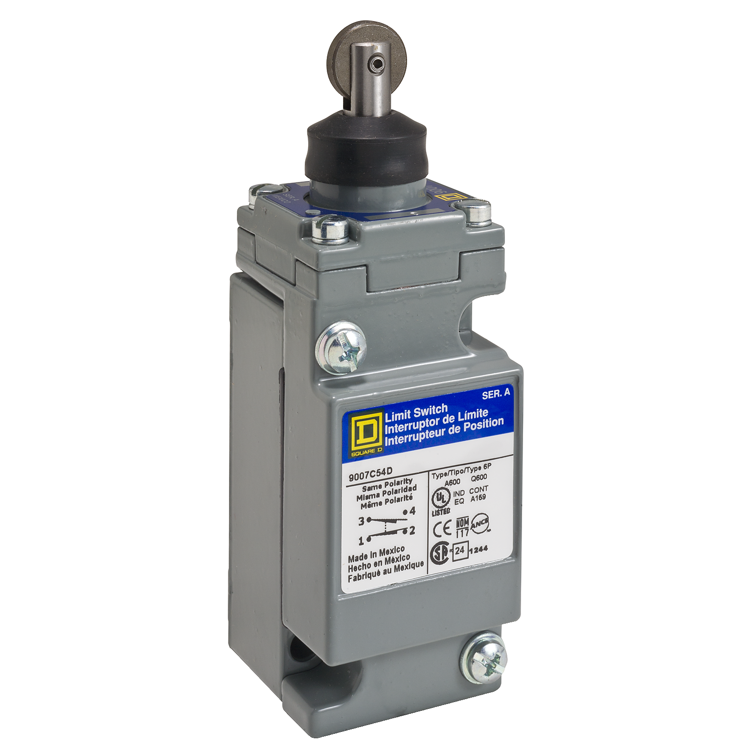 SQUARE D 9007C limit switch - 2 NO/NC - top roller plunger