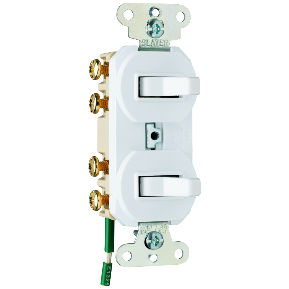 PASS & SEYMOUR 15 amps 120/277 volts, Double Three-way Combination Switch, Grounding, White.