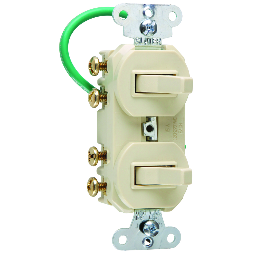 PASS & SEYMOUR 15 amps 120/277 volts, Double Three-way Combination Switch, Grounding, Ivory.