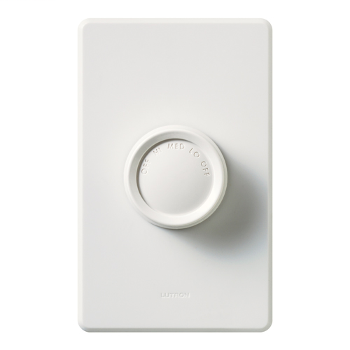LUTRON Rotary Fan Control, Fan Control with Rotate On/Off Knob - Quiet 3-Speed, Single-pole, 120V/1.5A in white