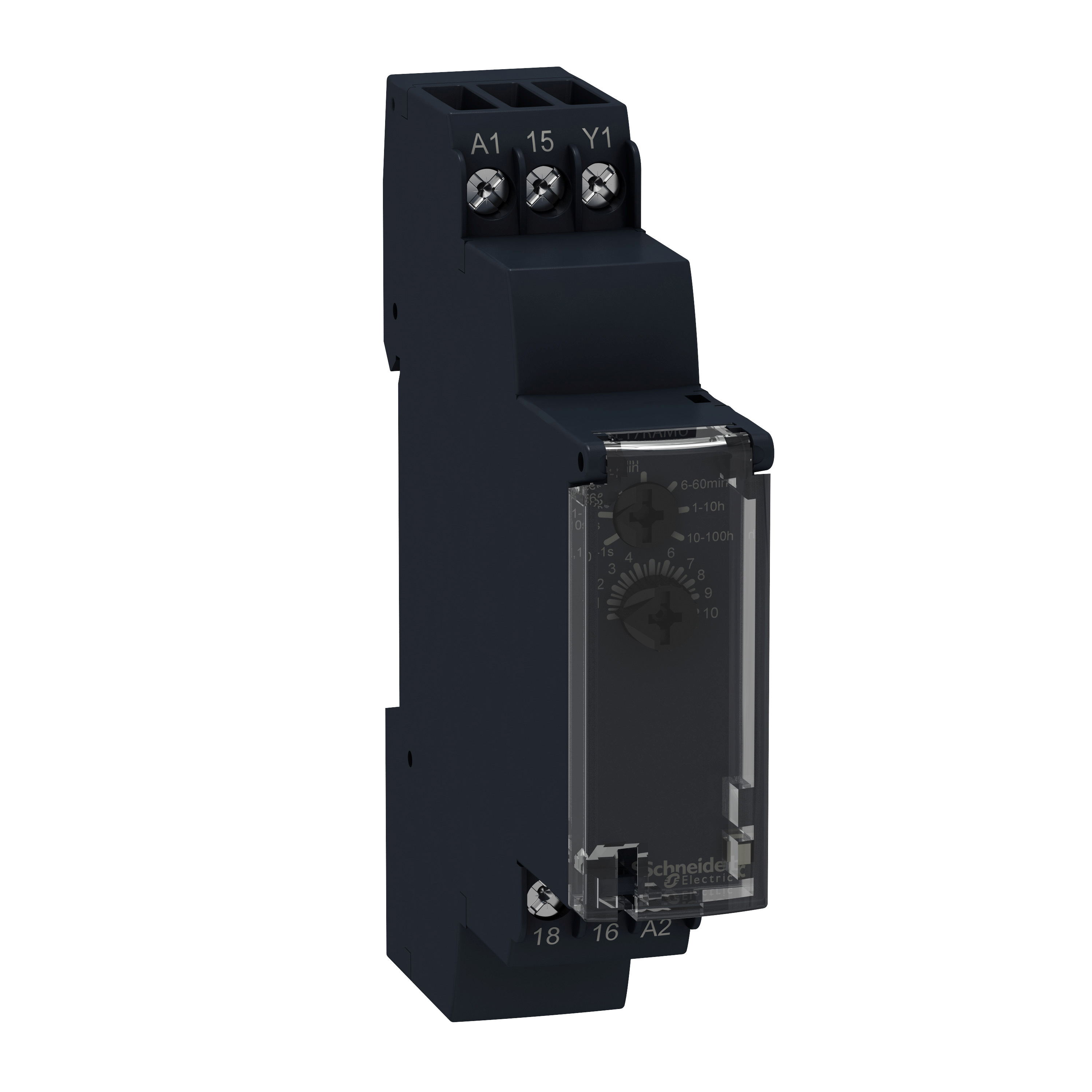SCHNEIDER ELECTRIC Modular timing relay, 0.7 A, 1 CO, 1 s..100 h, on delay, solid state output, 24..240 V AC/DC