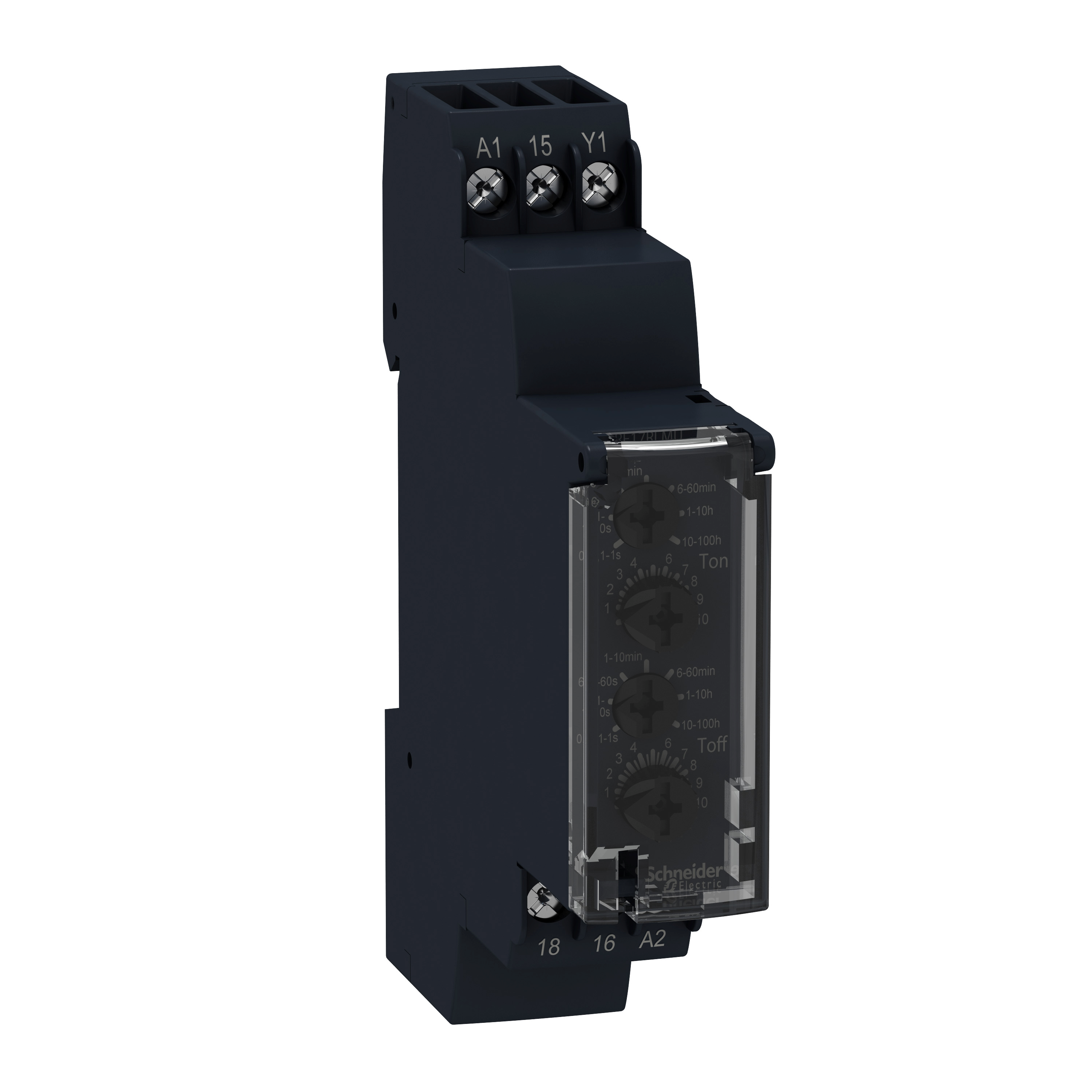 SCHNEIDER ELECTRIC Modular timing relay, 8 A, 1 CO, 1 s..100 h, asymmetrical flashing, 24...240 V AC