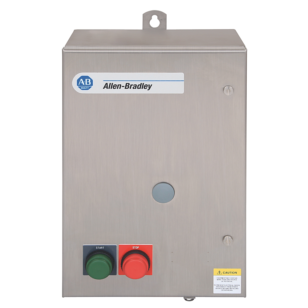 Available from RCC, NEMA Full Voltage Non-Reversing Starter,SIZE 2,460-480V 60Hz,Type 3R/4/12, Rainproof, Dusttight Industrial Use Enclosure, with Eutectic Alloy Overload Relay