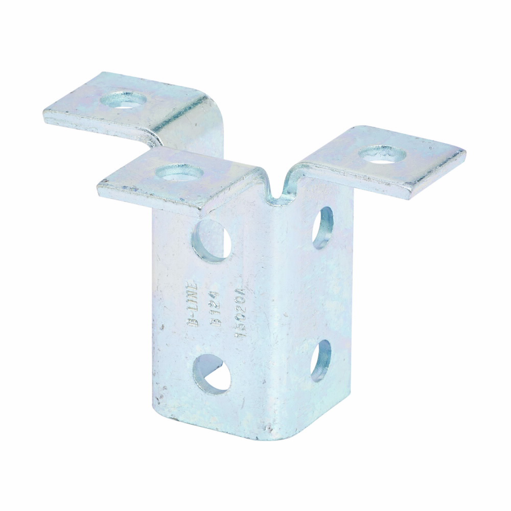 """Eaton B-Line series strut fittings and accessories, 3.93"""" Height, 5.43"""" Length, 1.68"""" Width, 1.77lbs, Steel, Nine hole triple wing fitting, Thickness 1/4 in, Electro-plated"""