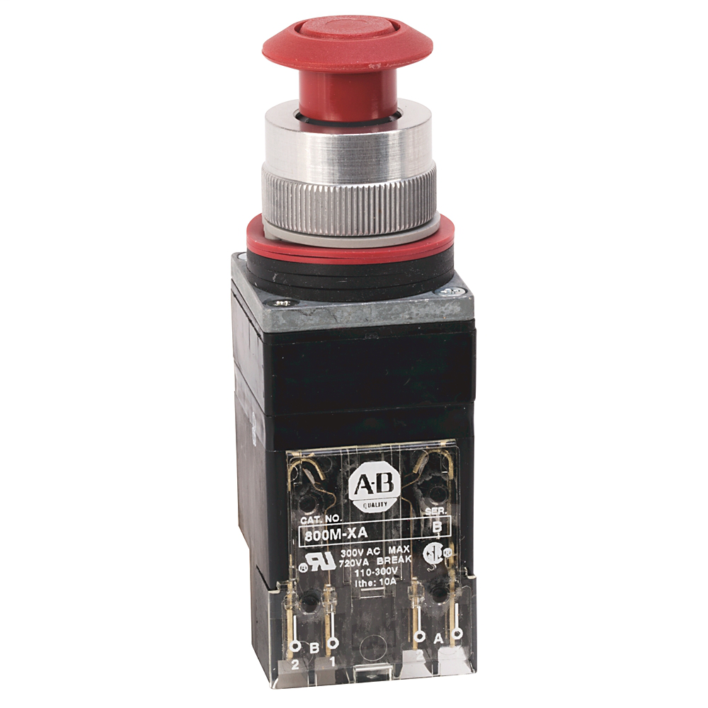 800MR 2-Position Push-Pull/Twist Release Units, Illuminated, Maintained (Push-Pull), Transformer, Incandescent Lamp, 120 V 50/60Hz, Amber, 1 N.O - 1 N.C., Stab Terminals