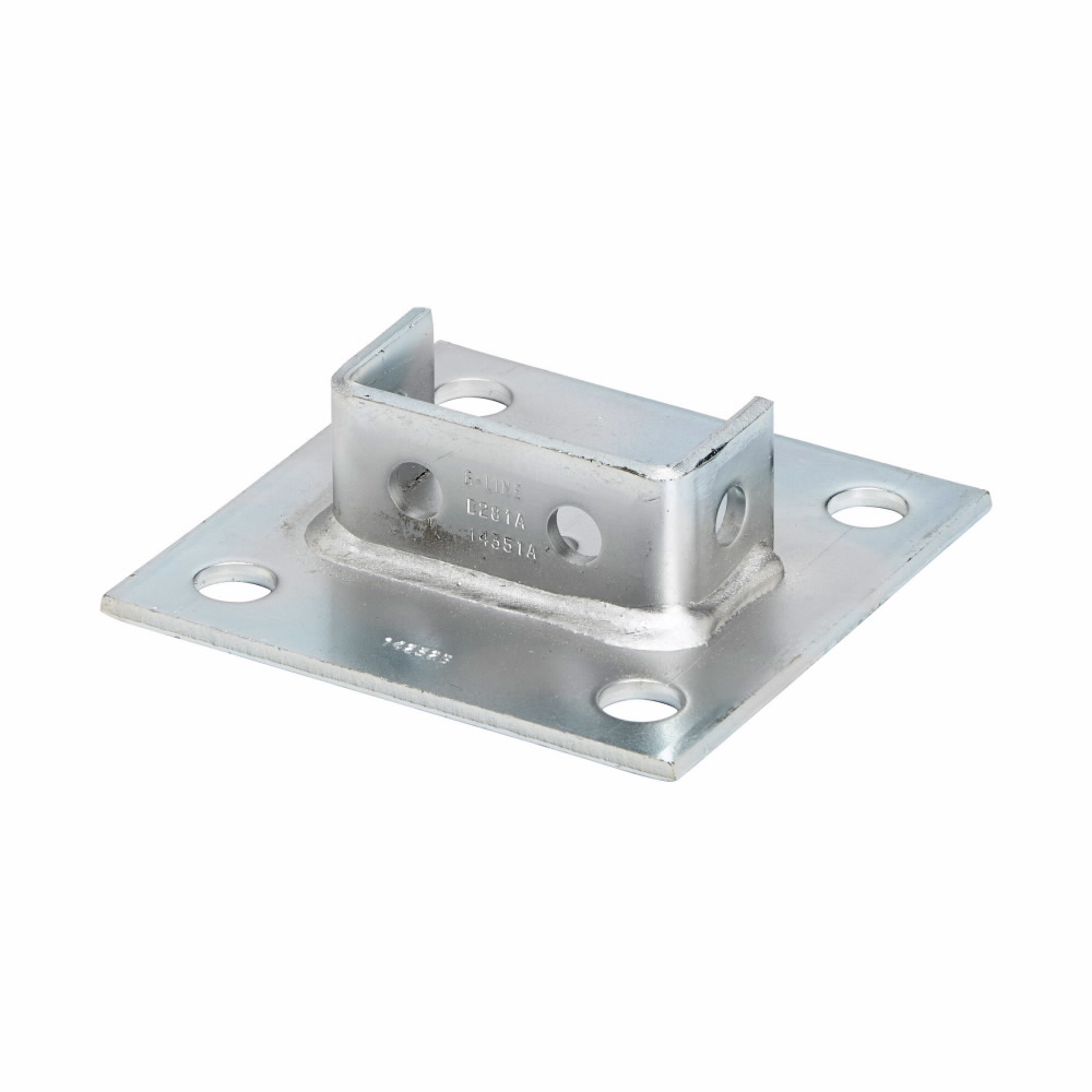 """Eaton B-Line series strut fittings and accessories, 1.62"""" Height, 6"""" Length, 6"""" Width, 3.30lbs, Steel, Square post base, centered, Fits channel type B22A, B, C, Electro-plated"""