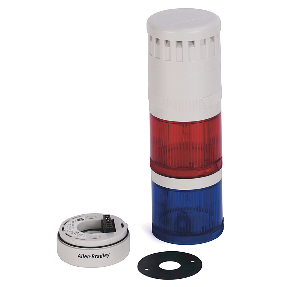 Pre-Assembled Ctl. Tower, Surface / PG16 Conduit Mount with Cap, Gray Housing, 120V AC Full Voltage, Red Flashing Incandescent with Sound
