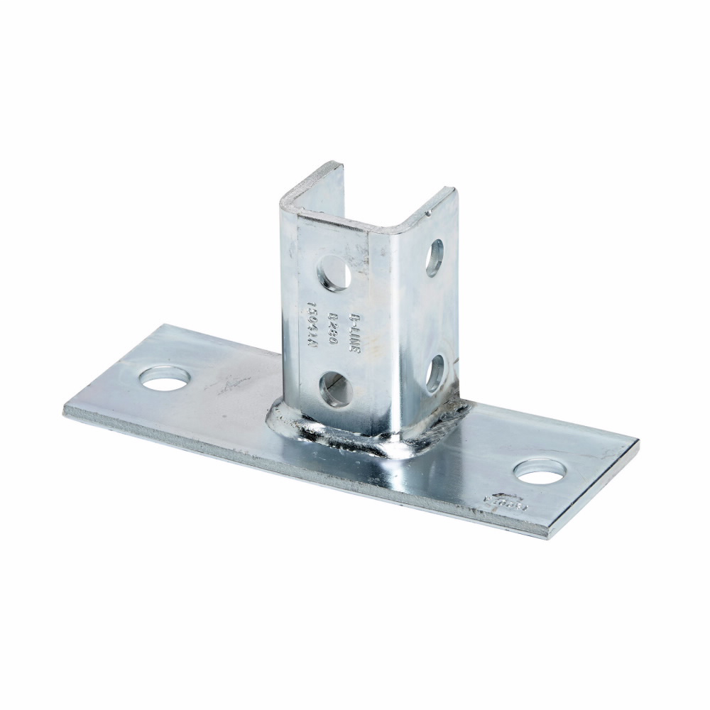 """Eaton B-Line series strut fittings and accessories, 3.5"""" Height, 8"""" Length, 3"""" Width, 3.12lbs, Steel, Rectangular post base, flush to side, Fits channel B22, DURA GREEN"""