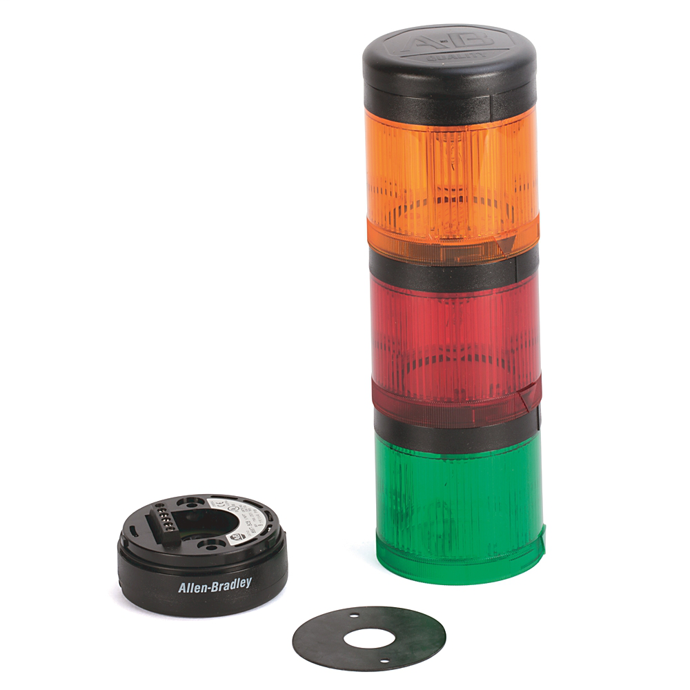 Pre-Assembled Ctl. Tower, Surface / 1/2 inch NPT Conduit Mount with Cap, Gray Housing, 24V AC/DC Full Voltage, Green Steady LED, Amber Steady LED, Red Steady LED