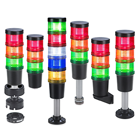 Compact Tower Light, 70 mm, Aluminum Pole-Mount with Foot, 10cm, No Network Option, Stranded Cable, 2 meter, Yellow Jacket, Black, 24V AC/DC, Green Steady LED, Amber Steady LED, Red Steady LED, Sound Module Two-Circuit Sound Alarm, No Module