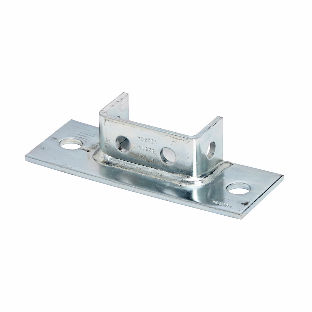 """Eaton B-Line series strut fittings and accessories, 1.62"""" Height, 8"""" Length, 3"""" Width, 2.5lbs, Steel, Rectangular post base, flush to side, Fits channel type B22A, B, C, Electro-plated"""