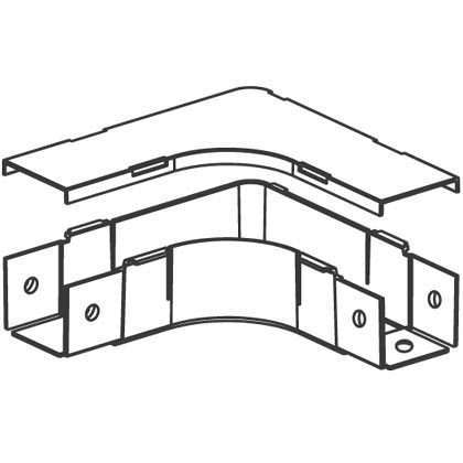 2 x 2 Fiber-Duct Fitting. Attaches to channel to create a 90° horizontal turn from a straight horizontal run. Cover included. Light Gray.