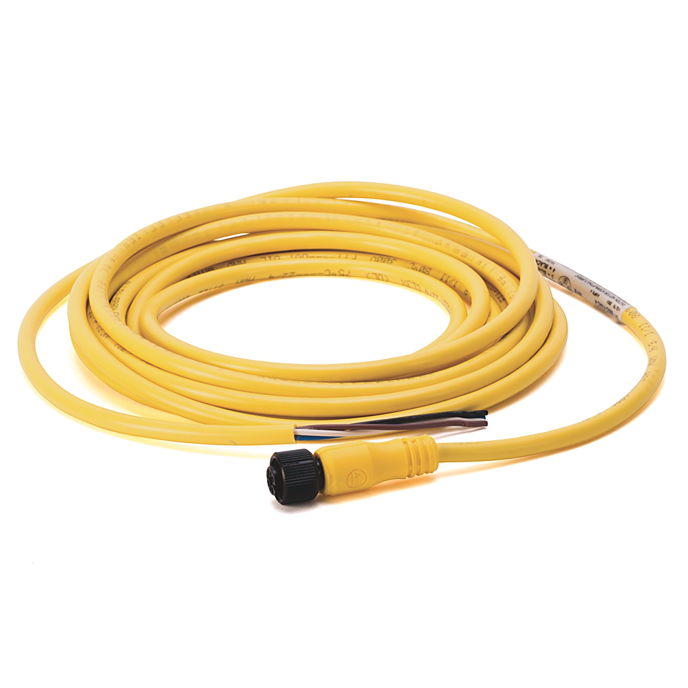 DC Micro (M12), Female, Straight, 4-Pin, PVC Cable, Yellow, Unshielded, IEC Color Coded, No Connector, 4 meter (13.12 feet)