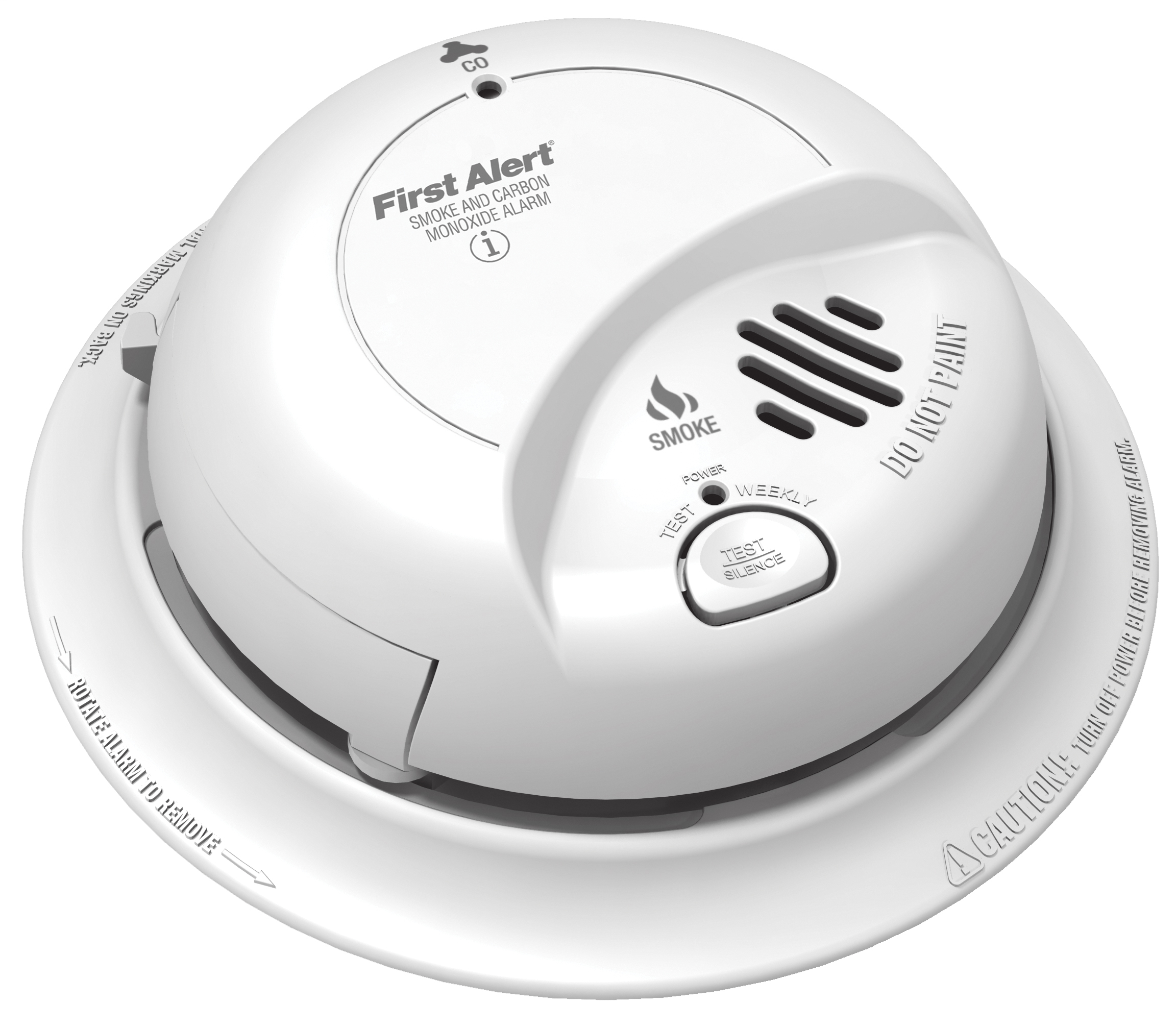 Hardwired ionization/CO combination alarm meets new construction requirements.