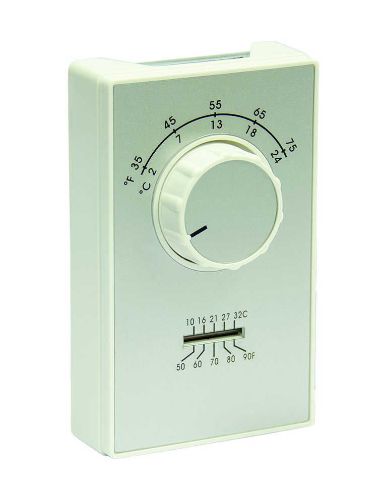 35-75 DEG F SPST Heat Only Thermostat with Thermometer and Terminal Connections