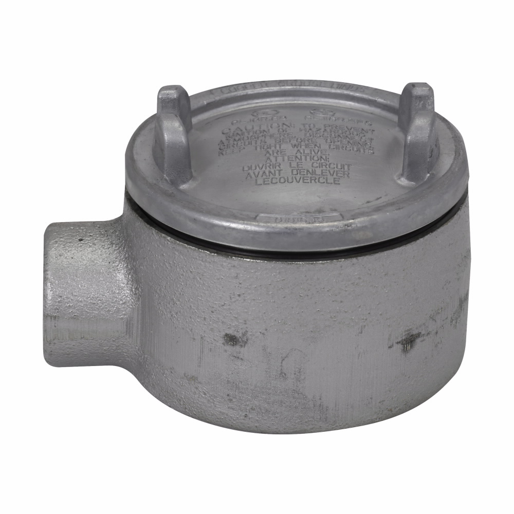 "Eaton Crouse-Hinds series Condulet GUA conduit outlet box with cover, 5"" cover opening diameter, Feraloy iron alloy, 1-1/2"""