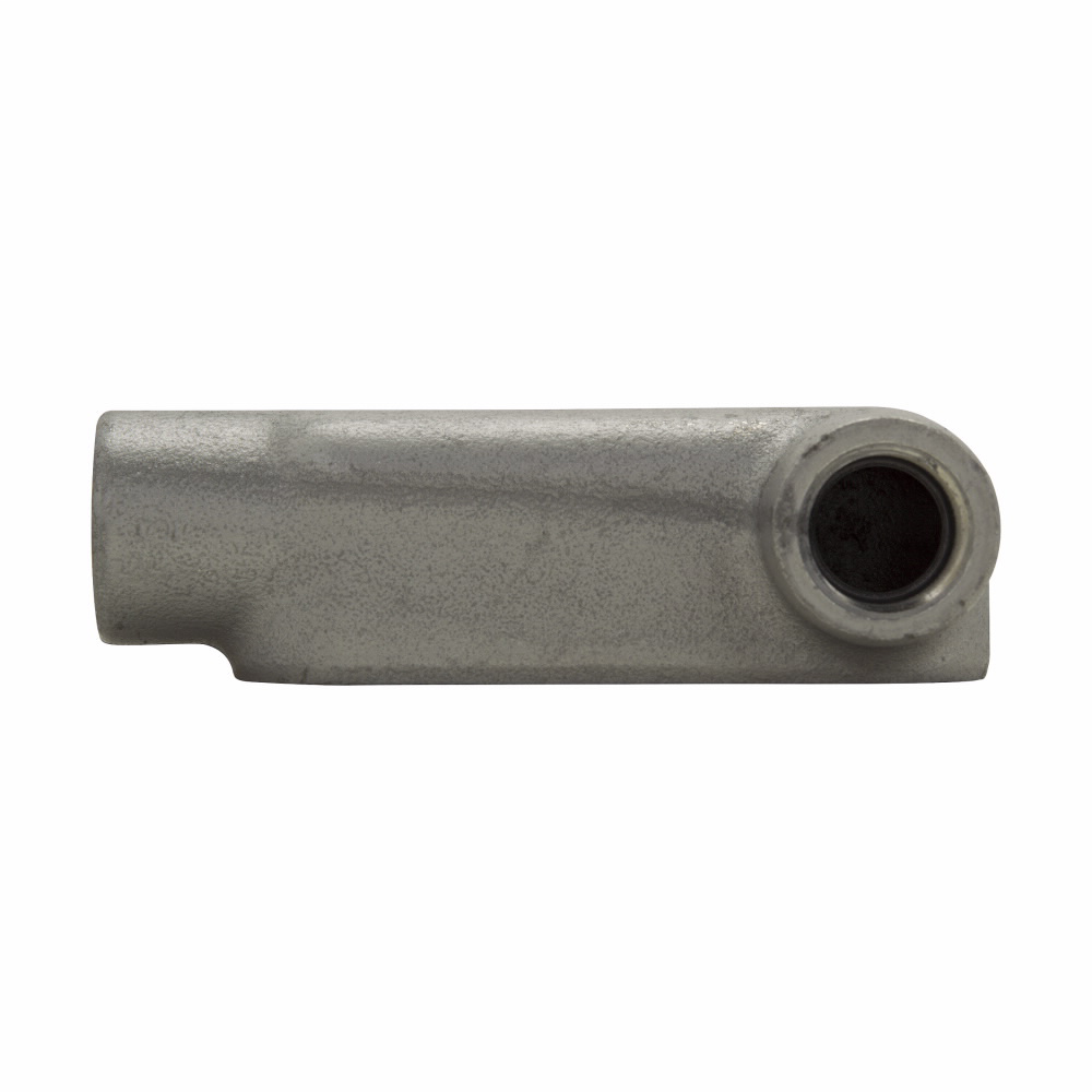 Eaton Crouse-Hinds series Condulet Form 8 conduit outlet body, Feraloy iron alloy, LR shape, 1-1/2""
