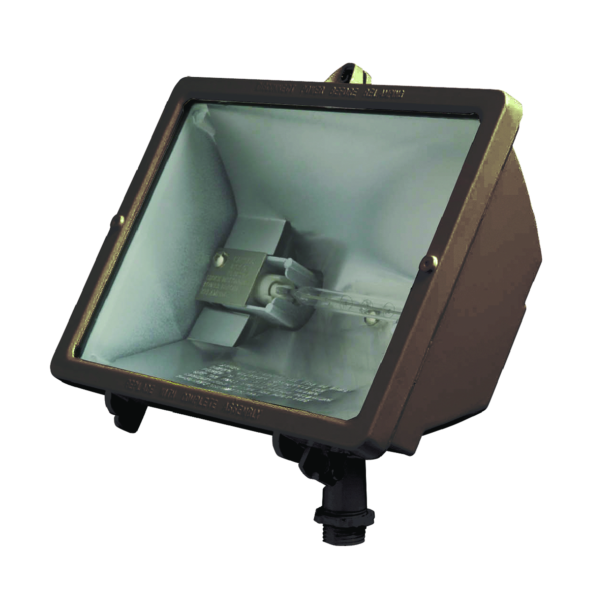 Q Series Quartz Floods, Light Source: HID, Quartz, Lamp Included: Yes, Mounting Type: 1/2 IN cast swivel knuckle fits standard boxes and covers, Wattage: 500 W, Dark Bronze, Voltage Rating: 120 VAC.