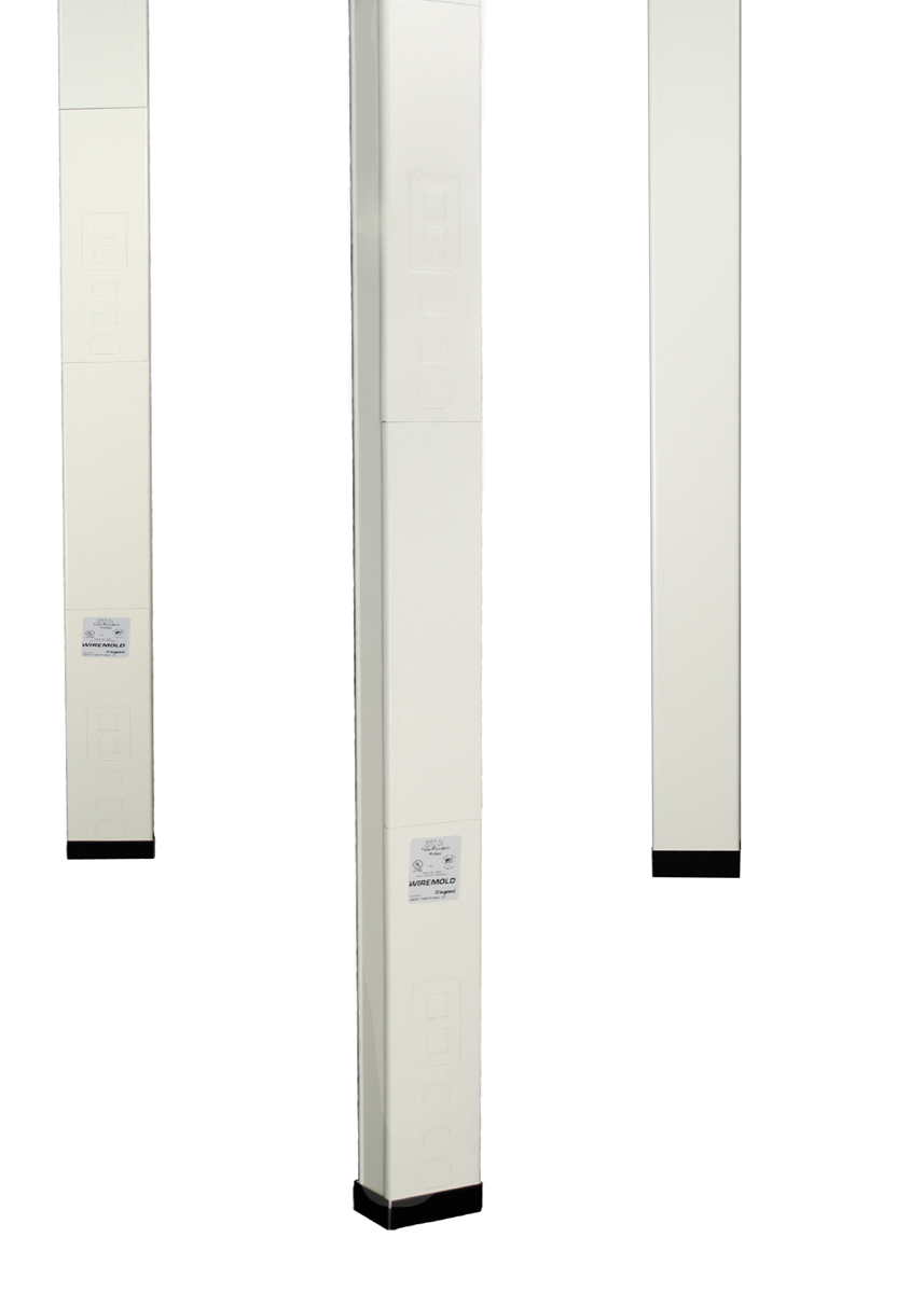 """Single-compartment pole. Nominal material thickness .040"""" (1.0mm). Furnished unwired without outlets. Mounting hardware, entrance end fitting and ceiling trim plates furnished. Length: 12'5"""" (3.8m)."""