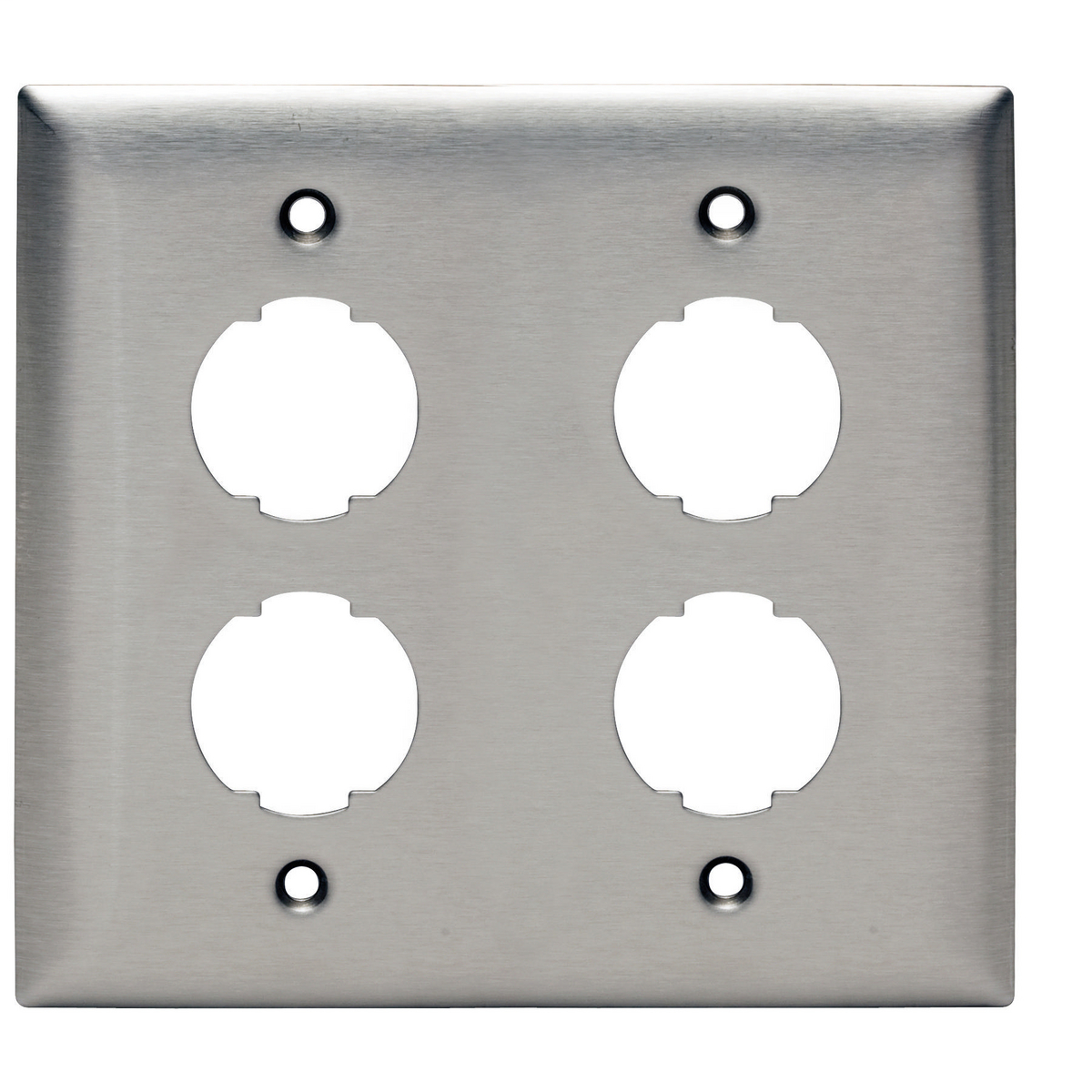 Hubbell Premise Wiring Products, HI-IMPACT Plate, Stainless Steel, 4-Port, 2-Gang