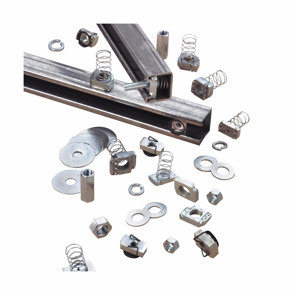 "Eaton B-Line series strut channel, nuts, all threaded rod, Steel, Hardware,1/2"" X 1"" hex head cap screws, Electro-plated zinc"