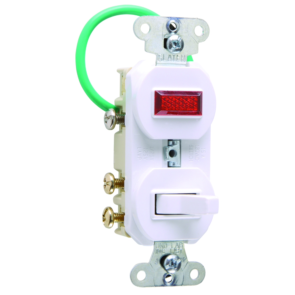 15 amps, 120/125 volts, Three-way, Single Pilot Light, Combination Switch, Grounding, White.