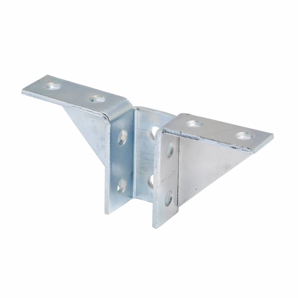 """Eaton B-Line series strut fittings and accessories, 3.87"""" Height, 9.18"""" Length, 1.62"""" Width, 2.40lbs, Steel, Ten hole double wing gussetted connection, Electro-plated zinc"""