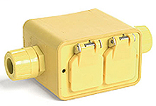 """Super-Safeway® Multiple Outlet Box, Extended Depth, 2-Sided, F2 (1/2"""") Feed-Thru, with Flip Lids for (2) Duplex Receptacles Not Included"""