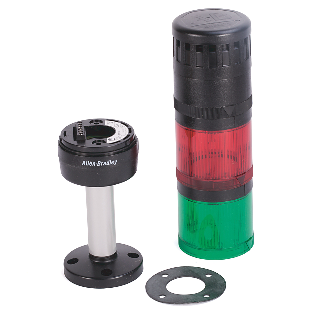 Pre-Assembled Ctl. Tower, 10cm Pole Mount with Cap, Black Housing, 120V AC Full Voltage, Green Steady Incandescent, Red Flashing Incandescent