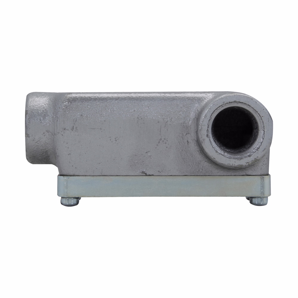 Eaton Crouse-Hinds series Condulet OE conduit outlet body with cover, Feraloy iron alloy, LR shape, 1/2""
