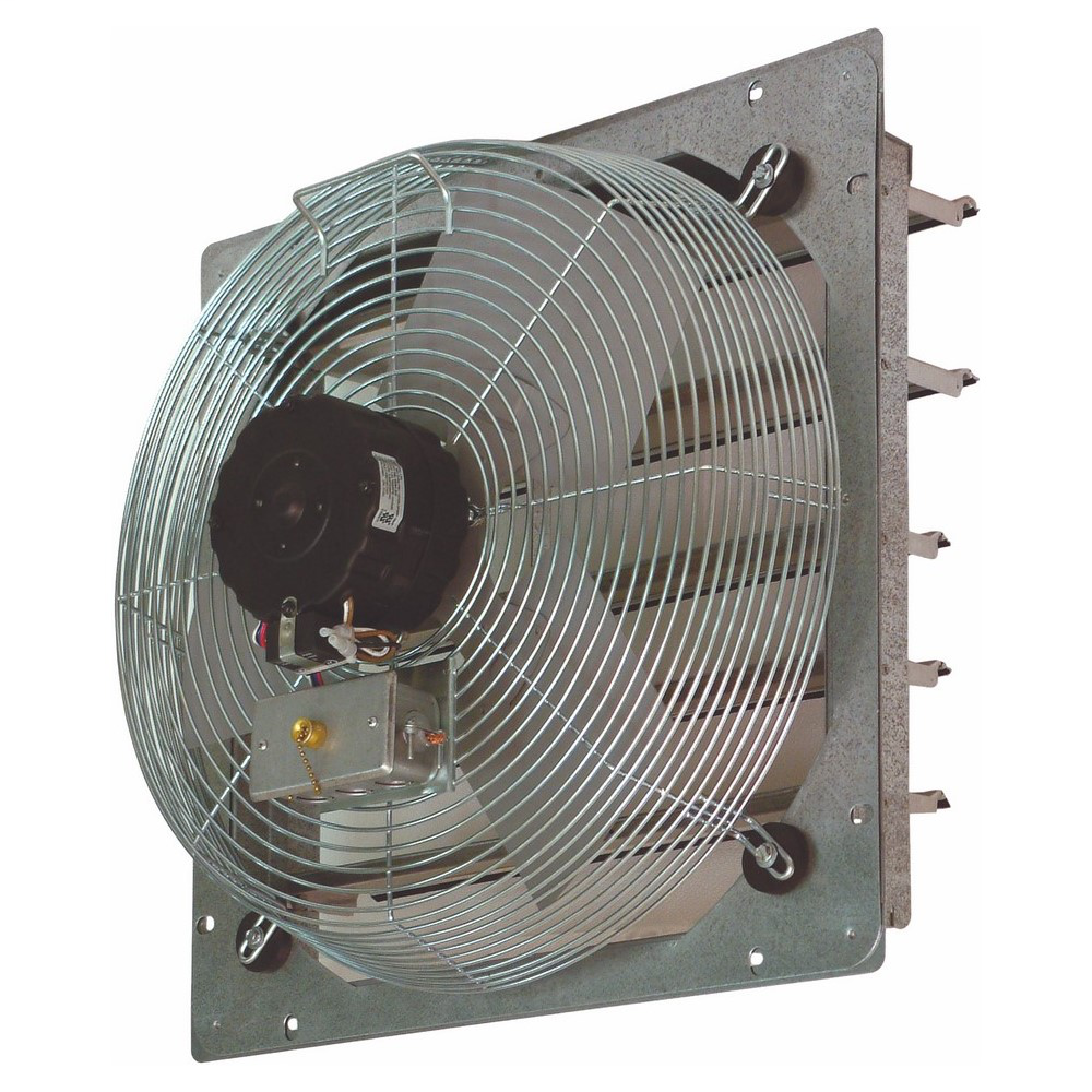18 IN Direct Drive Exhaust Fan, Flow Rate- 1850/2100/2300 CFM, 120 V, 1 PH, 2.2 AMP, Fan Speed- 1370/1550/1660 RPM, Shutter, Wall mounting, AC Motor, Steel (Guard) housing material, Aluminum Blade