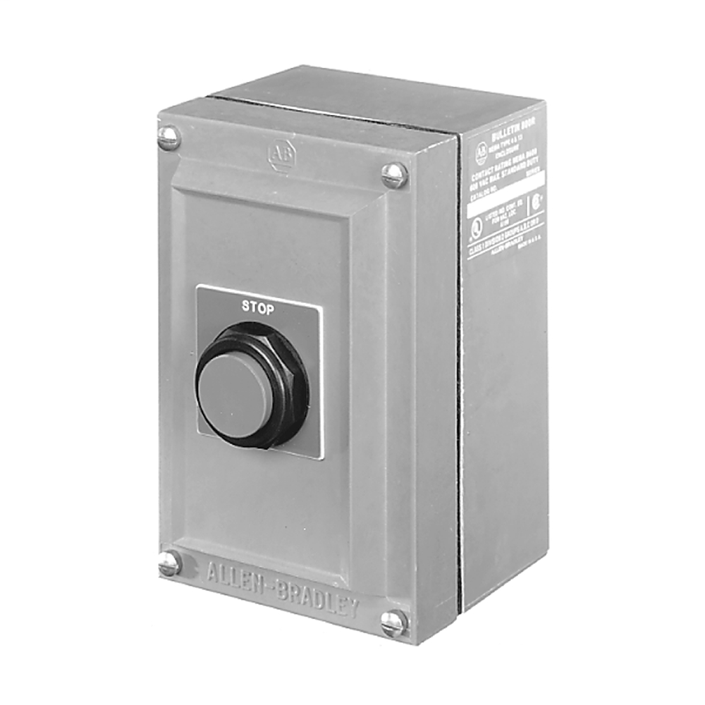 800R Pushbutton Station, Standard, 1 Push Button,Bulletin 800H Units, NEMA Type 4/4X/13 Booted, Stainless Steel, START