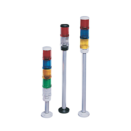 Control Tower Stack Light, Pre-Assembled, 10cm Pole Mount with Cap, Black Housing, 24V AC/DC Full Voltage, Amber Steady Incandescent