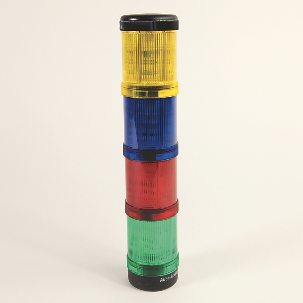 Control Tower Stack Light, Pre-Assembled, Surface / 1/2 inch NPT Conduit Mount with Cap, Black Housing, 115V AC Full Voltage, Green Steady Incandescent, Red Steady Incandescent, Amber Steady Incandescent